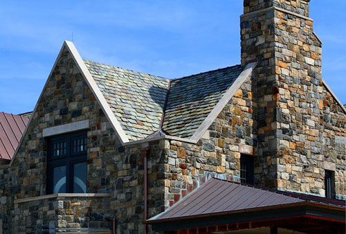 Slate Roof (Salvaged Slate) Copper Flashing, Copper Gutters, Copper Standing Seam Roofing – Friar's Head, Riverhead, New York